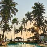 @instagram: Last weekend scene  #goa #pool #arabian #sea #blue #water #coconut #tree #sun #beautiful #scene #pordosol #ashvem #beach #vsvo #iphonography